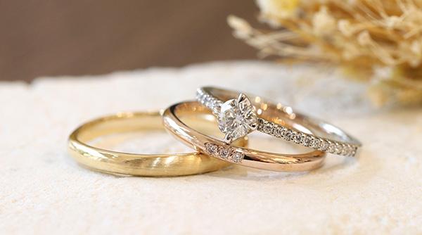 神戸元町彫金工房の手作り結婚指輪・婚約指輪 3本制作コース